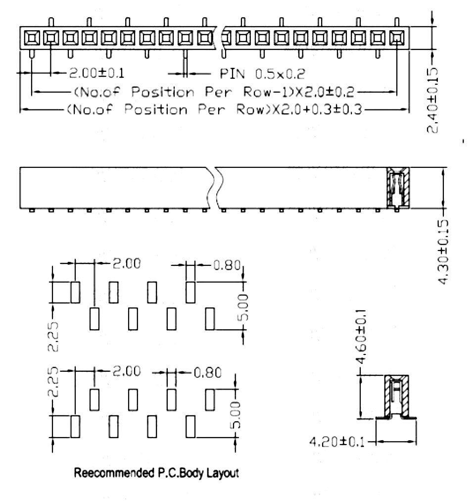1x40 錯位單排平面母座 2.0mm